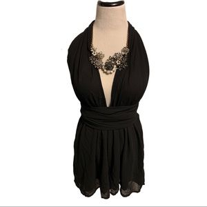 NWT Choies Black Plunging Backless Halter Romper